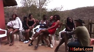 African prostitutes suck dicks and fuck in passionate orgy