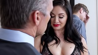Two dicks for a black-haired stunner in stockings Lea Lexis