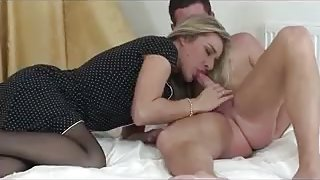 Sexy blonde in black pantyhose sucks and fucks partner