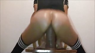 12 Inch Dildo Rider Stretching Out Pussy