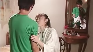 Japanese foreplay makes him hard as a rock to fuck her