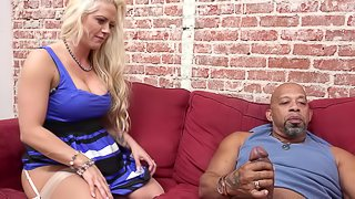 Cuckold hubby looks on as hot wife gets pounded with a fat cock