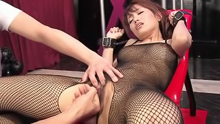 Japanese girl in fishnet outfit blows cocks after masturbation