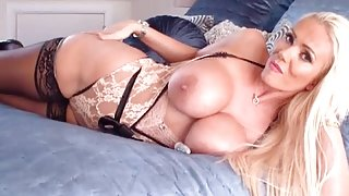 Sexy blonde Milf Lucy Zara toying her perfect pussy for her sugar daddy