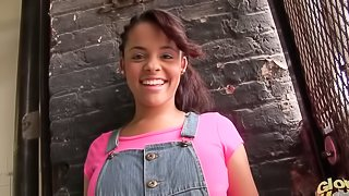 Cute teen hooker backstage in her jeans jumper and blouse