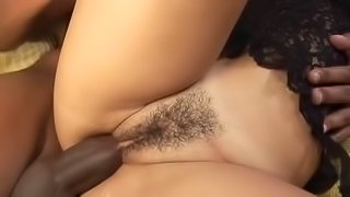 Brazilian woman in lingerie gets a big black cock up her asshole