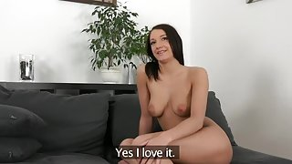Ambrosial brunette lady performing in amazing creampie porn video