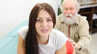 Stunning skinny brunette Katy Rose nicely fucked by an old man