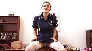 Hot nurse spreads her legs and teases her panties