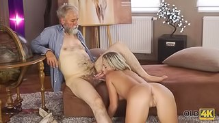 OLD4K. Old daddy enjoys fantastic sex with good-looking disciple