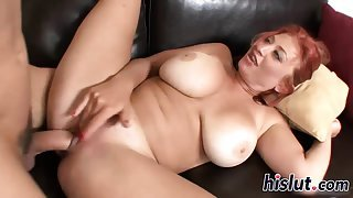 Stacked redhead cougar has her beaver drilled