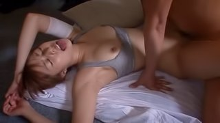 Japanese babe with small boobs gets cum in mouth after rimjob and fucking