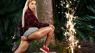Great-looking American teen Abella Danger and a giant sausage