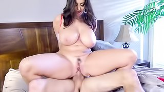 Gorgeous wife surprises her man with Christmas themed lingerie and hat, he licks her pussy and fucks her doggystyle.