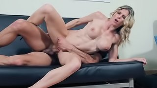 Handsome neighbor is ready to fuck juicy pussy of blonde lady