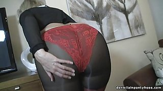 Sexy ass wife in seamed pantyhose &amp_ panty