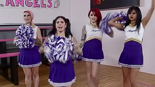 Cheerleader made to cheer the intensity of their rough sex;the deeper it goes the louder she yells