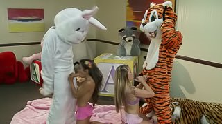 Rabbit and tiger are fucking two sexy babes at a time