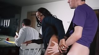 Black milf seduces young white cock into her pussy