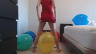 Blonde teen in tight minidress ass shaking on ballons to make them explode!