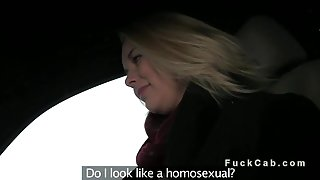 Busty amateur blonde bangs in fake taxi by the road
