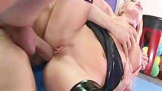 Nikki Benz on a leash gets taught a lesson