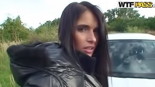 Blowjob in the Car and Anal Sex Outdoors in POV Vid with Brunette Babe