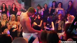 Hot drunk party girls blow the strippers