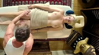 Luscious blonde babe with big tits gets a massage then gets fucked hardcore