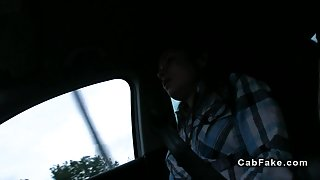 Amateur student fucked beside fake taxi in public
