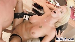 Busty blonde in sexy lingerie gets screwed