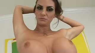 Brunette chick with big boobs gets her tight pussy drilled
