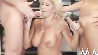 Gorgeous blonde bombshell in black stockings takes facial after hard double penetration