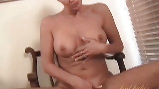 Cute amateur milf strips and fingers her cunt