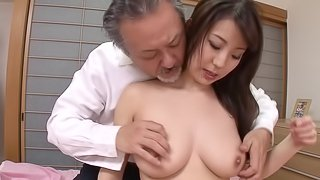 Japanese mom with incredible big natural tits fucked