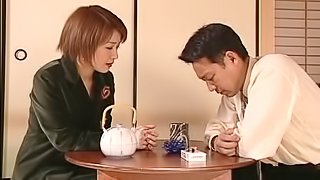 Good Japanese wife blows her stressed out hubby's dick