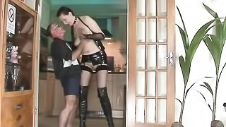 32 yo Brunette Lara Latex and 67 yo Grey Jack Cum shot