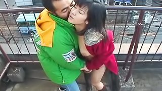 Lustful Japanese chick gets banged doggy style outdoors