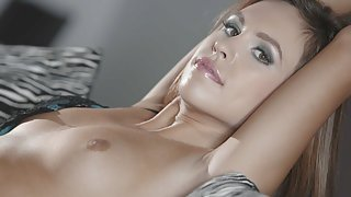 Sexy chick takes off her lingerie