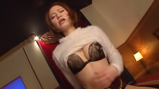 Hot Japanese lady gives a cute massage,blows a cock and rides it like a pro