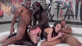 Naughty babe Henessy gets her tight ass pounded by horny black guys