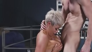 Impressive tanned lady with short hair style has passionate sex