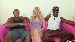 Sex hungry blonde girl has wild sex with two Black dudes