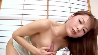 Naked Japanese pleasant experience with a heavy dick