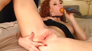 Red Haired Cutie Pleasures Both Holes