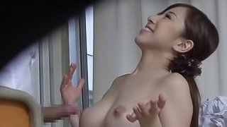 Hot Japanese teacher with big tits blows her student