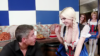 A blonde with pigtails is getting a dick rammed in her wet snatch