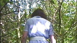Angela. White basque in the woods