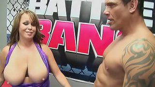 Lady with big tits gambles her pussy in ring battle,winner fucks her