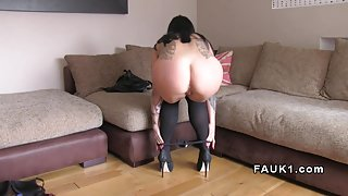 Perfect booty Brit anal banged in casting